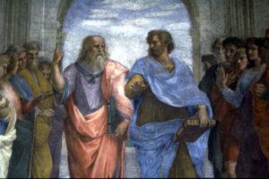 """Raffaello Sanzio, """"Platone e Aristotele"""", 1511 ca."""