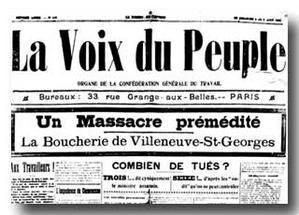 Une de la Voix du Peuple au lendemain de la répression de la grève de Villeneuve-Saint-Georges
