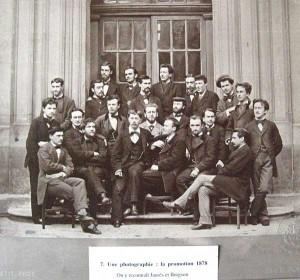 Jaurès au premier rang (deuxième en partant de la gauche) et Bergson debout à droite