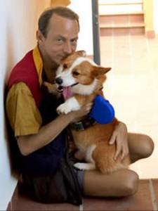Houellebecq et son chien Clément