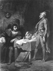 """""""Méphisto visitant Faust"""", par Tony Johannot"""