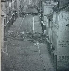 Rare photo d'une barricade de 1848