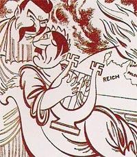 En légende de cette caricature de 1939 : Néron/Hitler - Je vais déclamer l'Enéide... Poppée/Staline - Non, Mein Kampf plutôt... C'est bien plus incendiaire..