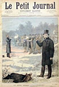 Le duel opposant Clemenceau à Déroulède. Clemenceau fut un des plus grands duelliste de son temps.