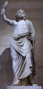 Statue du dieu Zeus, tenant la foudre dans sa main droite.