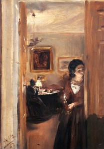 Adolph von Menzel, Salle de séjour avec la soeur de l'artiste