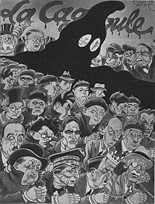 Caricature de Raoul Cabrol, parue dans le magazine communiste Regards