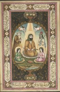 L'imâm 'Alî et ses deux fils (miniature persane du XIXe s.)