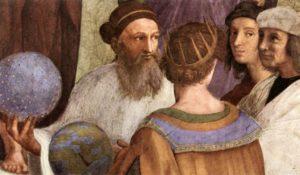 Zoroastre dans la fresque de Raphaël, L'école d'Athènes
