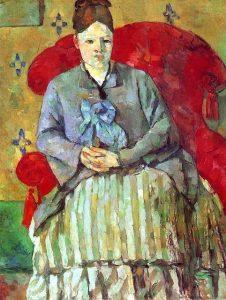 Madame Cézanne à la jupe rayée de Paul Cézanne