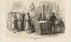 L'Emir et sa suite votent pour l'Empire., Illustration d'une oupure de presse de l'époque