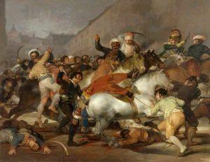 Le soulèvement des Madrilènes contre l'occupant français le 2 mai 1808. Tableau de Francisco Goya.