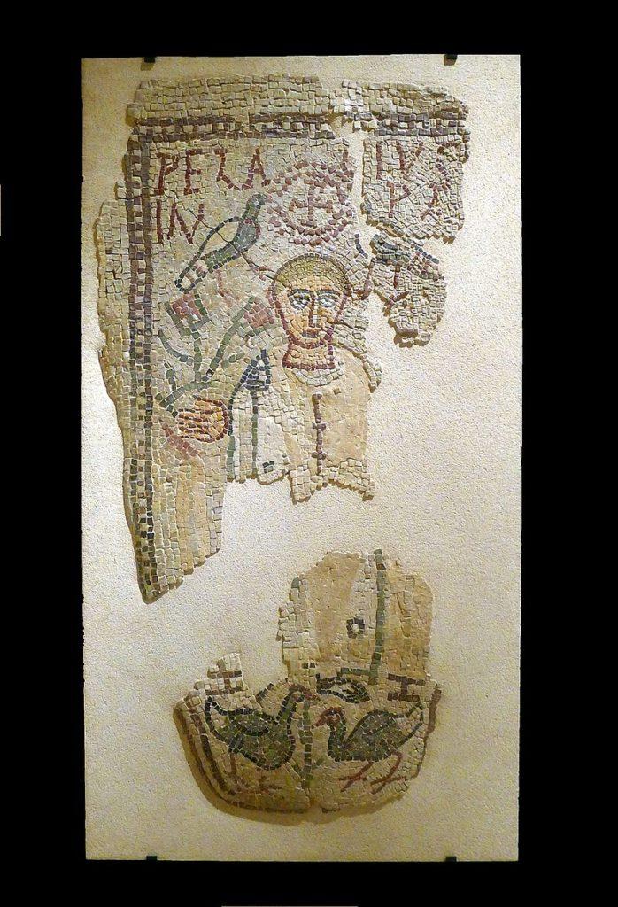 Mosaïque funéraire de Pelagius ; couvercle d'une tombe d'enfant (fin IVe s. – début Ve s. ap. J.-C)